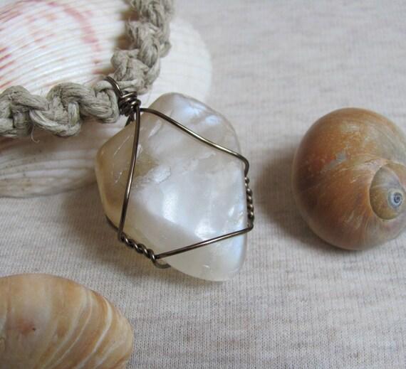 Silver Moonstone Hemp Necklace