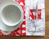 Placemats and Napkins - White and Red - Set for 4
