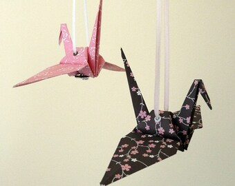 Baby Girl Mobile - SOPHIE - Origami Cranes Pink Brown French Grey- Also avail as Garland