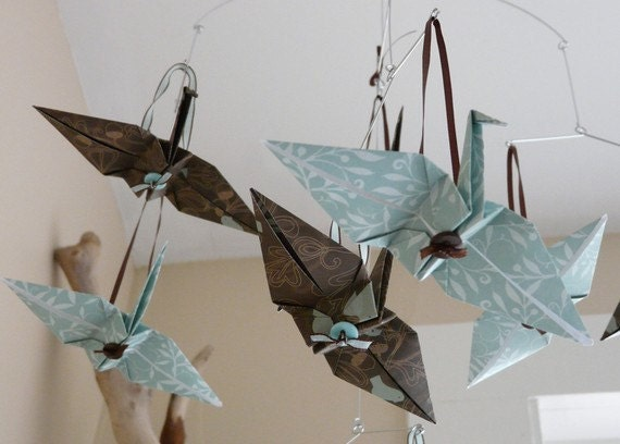 DUNCAN - ONLY 1 LEFT! - Baby Boy Mobile or Garland - Origami Cranes in Blue and Brown Woodland Theme