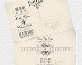 vintage postcard save the date wedding invitation