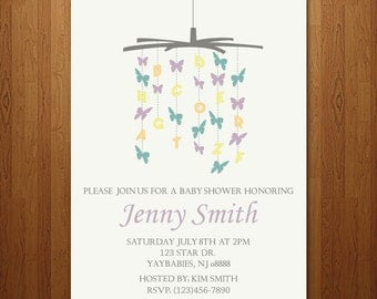 Baby shower invitation boy or girl butterfly mobile