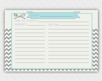 INSTANT DOWNLOAD - Recipe cards - Matching - Chevron