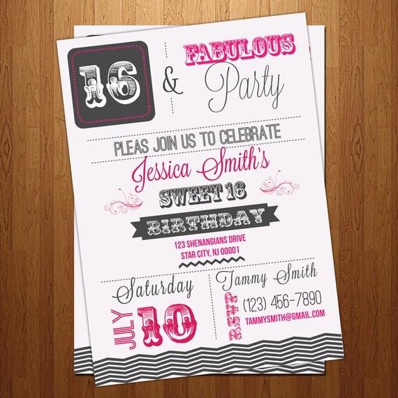 Sweet 16 - 30th 40th 50th - sixteenth Birthday party invitation - chevron