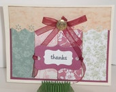 handmade victorian thank you - blank card