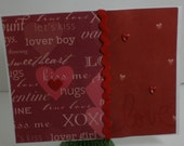 love hearts kisses valentine anniversary card - blank inside