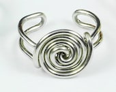 Spiral Button Ear Cuff - Silver