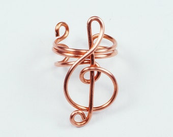 Ear Cuff - Small Treble Clef - Copper