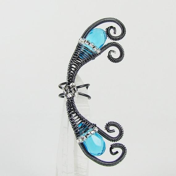 Ear Cuff - Gray and Blue Aqua Fairy
