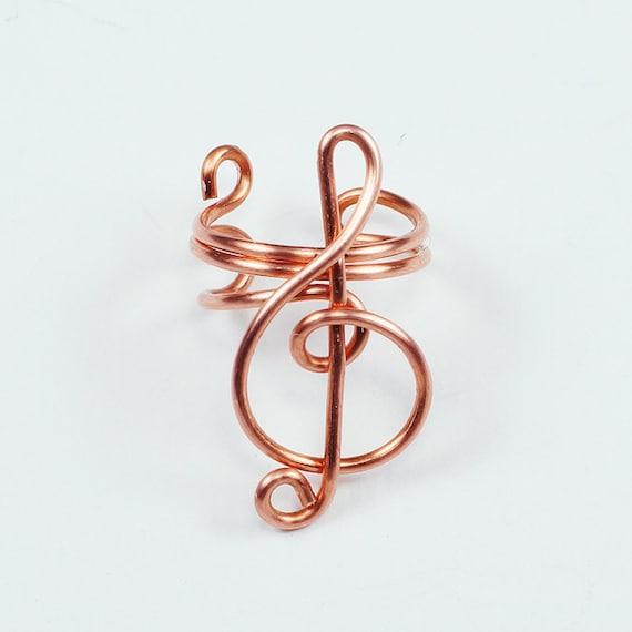 Ear Cuff - Small Treble Clef - Copper