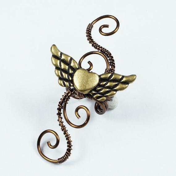 Vintage Brass Winged Heart Swirly Ear Cuff - LEFT Ear - LIMITED EDITION