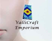 Mixed Blue Seed Bead, Rectangular Post Earrings
