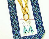 Bib Necklace Set of Mixed Blue Seed Beads with Earrings
