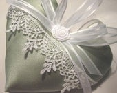 Lavender Sachet Heart in Mint Green Satin with Lace