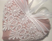 Pink Lavender Sachet Heart with Ornate Lace