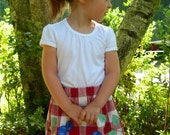 Berry Picking Skirt:  Upcycled Vintage Tablecloth w/ Hand-Appliqued Berries (Size 3t-5)