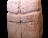 Fine Arts. Small Stone Sculpture. A Couple. Two Sculptures That Are One. Book Holder Sculpture. Artificial Stone Casting  Pink Sculpture