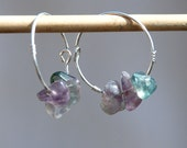 Silver Earrings-Green Purple Earrings-Fluorite Chip Beads Hoop Earrings-Handmade Earring-Silver Jewelry-Made in Israel-Free Shipping-HKart1
