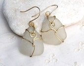 White Natural  Sea Glass Earrings.Sea Glass Jewelry.Beach glass Jewelry.Sea Foam Beach Glass Earrings.In Alpaca+Gold Filled Ear Wires