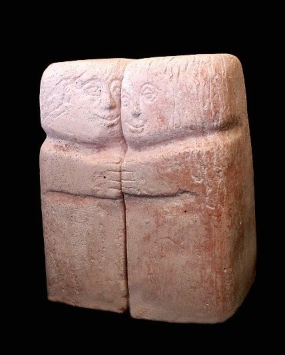Arts. Small Stone Sculpture A Couple. Artistic Handmade Book Holder Two Sculptures That are One Pink Artificial Stone Casting Made in Israel