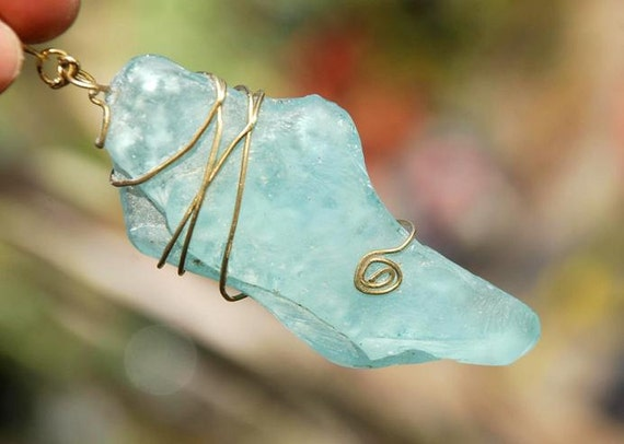 Ancient Roman Glass Large Pendant.  Aquamarine Seaglas Pendant. Large Frosted Aqua Glass Pendant. Wire Wrapped Glass Pendant..One Of A Kind.