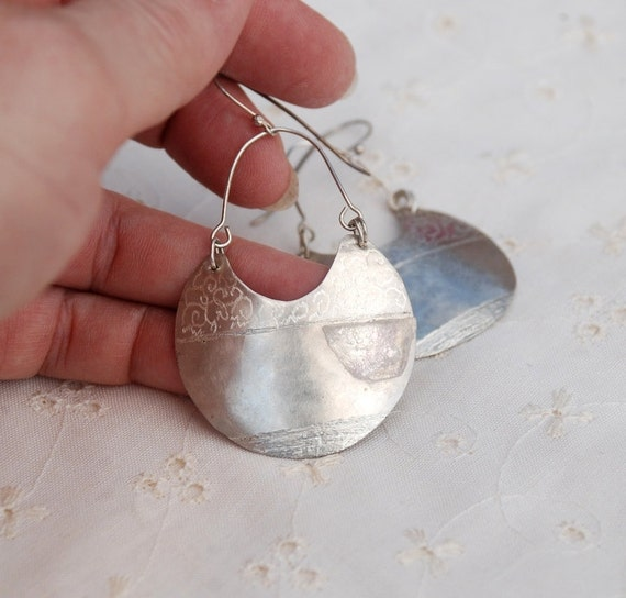 Large Silver Earrings.  Crescent Shaped. Decorarted with a Slice of Quartz