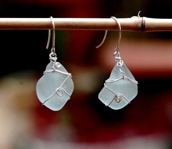 Aqua Sea Glass Earring in Silver Wire. Beach glass Dangles. Silver Earrings. Light Aqua Sea Foam Dangles. Sea Glass Jewelry-Earrings.