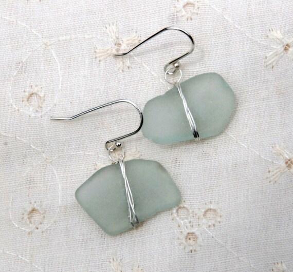 Silver Aqua Sea Foam Sea Glass Earrings.Fine Silver Wrapped Sea Glass Earrings.Light  Blue Sea Glass Earring.Beach Glass Dangles.Earing.SALE