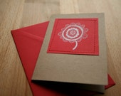 Recycled card with original drawing red and white flower