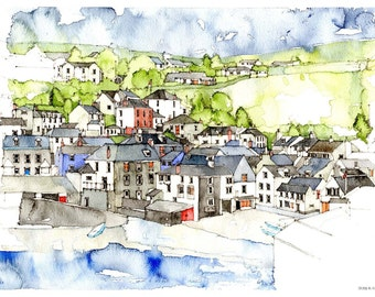 Port Isaac, Cornwall, a print from an architectural watercolour (3 sold)