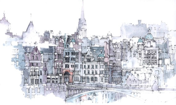 Edinburgh - an architectural print relisted, (5 sold)