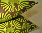 Pillow Pair . Contemporary Green on Chocolate . 2 Pillow Cover Set . 16 inch . Free Shipping