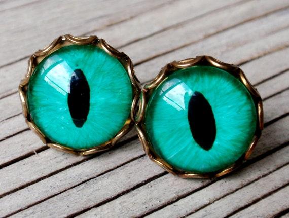 Fancy Emerald Green Evil Eye Earrings, Cat Eye, Dragon Eye, Stud Earrings, brass, Surgical Steel Ear Studs