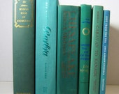 Vintage Instant Book Decor Collection of Teal Blue, Turquoise and Green  Books for Decor and Photo Prop