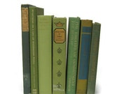 Green Teal Vintage Books Collection of Decorative Books for Wedding Decor, Home Decor, and Photography Prop