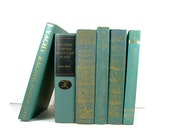 Aqua Turquoise Vintage Decorative Books for Wedding Decor and Photo Prop
