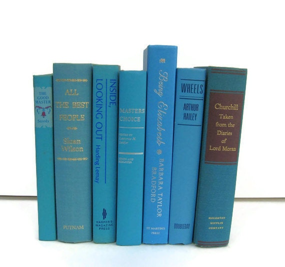Turquoise, Teal and Blue Collection Vintage Books by Color Instant Collection of Decorative Books for Wedding Decor, Home Decor, and Photogr