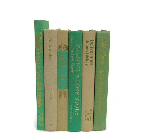 Green and Tan Collection Vintage Books by Color Instant Collection of Decorative Books for Wedding Decor, Home Decor, and Photography Prop