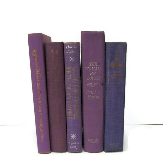 Purple  Collection Vintage Books by Color Instant Collection of Decorative Books for Wedding Decor, Home Decor, and Photography Prop
