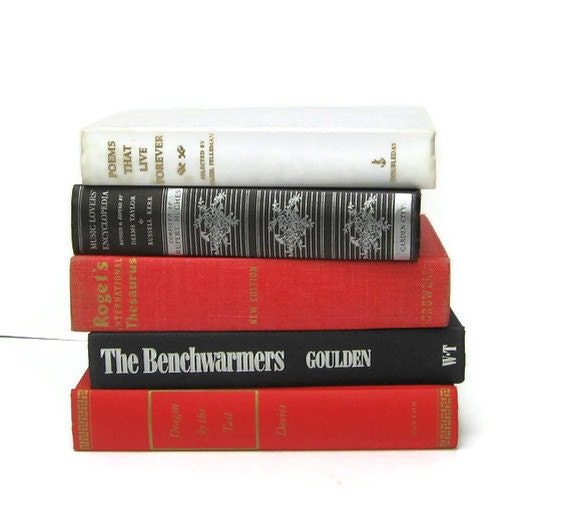 Vintage Book Set in Red White Black for Home Decor, Wedding Decoration or Photography Prop