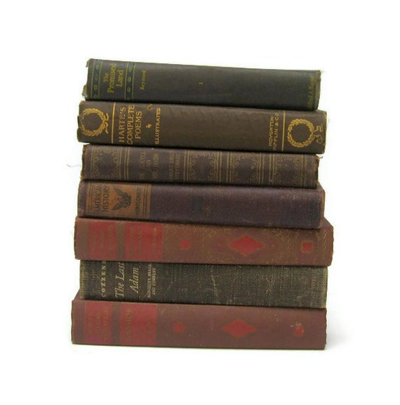 Brown Shabby Chic Vintage Books by Color Instant Collection of Decorative Books for Wedding Decor, Home Decor, and Photography Prop