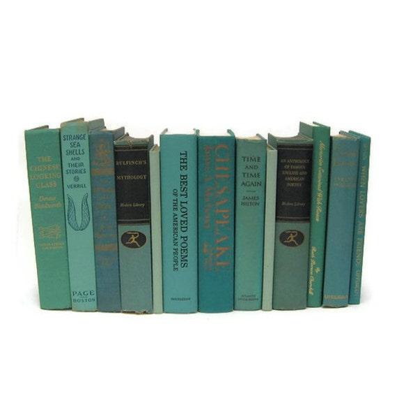 Beach Blue Green Vintage Decorative Books for Wedding Decor Photography Prop