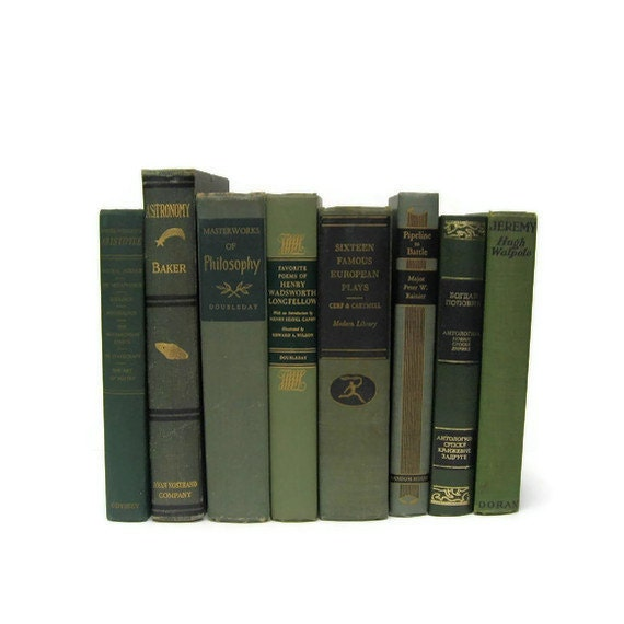 Vintage Green  Books   Decorative Books Wedding Photography Props Home Decor