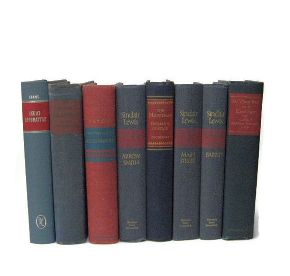 Blue Red Vintage Books Books for Photography Prop Instant Library Home Decor Table Setting