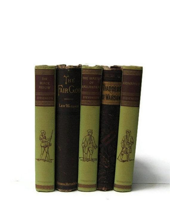 Green Brown Decorative Books, Vintage  Wedding Decor, Vintage Photo Props