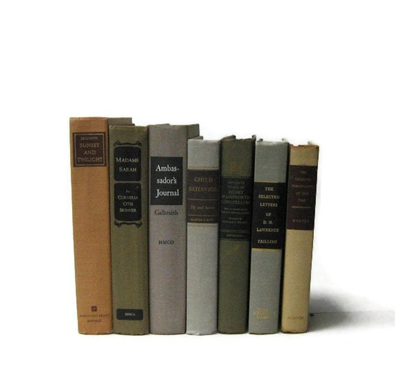 Vintage Books Tan Taupe Brown Interior Design