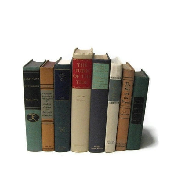 Teal Blue Tan  Collection Vintage Books