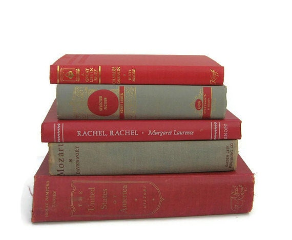 Red Grey  Vintage   Collection  Decorative Books for Wedding Decor  Photography Prop