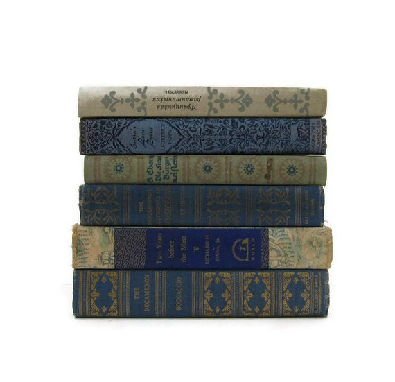 Vintage Books Blue  Decorative Books  Photography Prop Wedding Table Setting