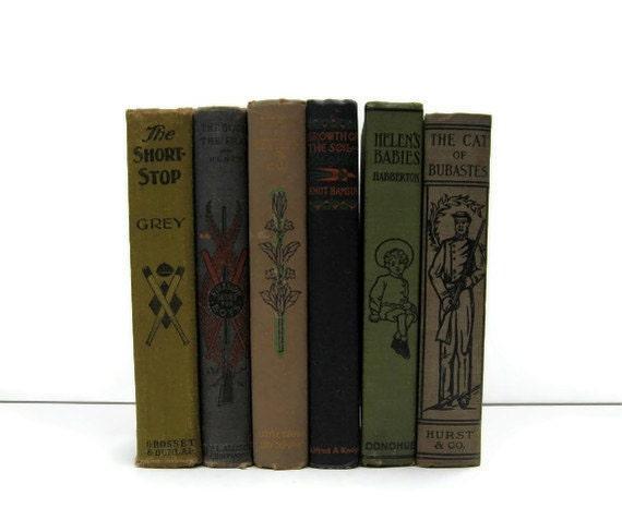 Brown Tan Green Decorative Books, Vintage Photo Props, Vintage Wedding Decor